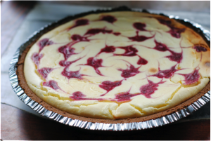 White Chocolate Swirled Raspberry Cheesecake